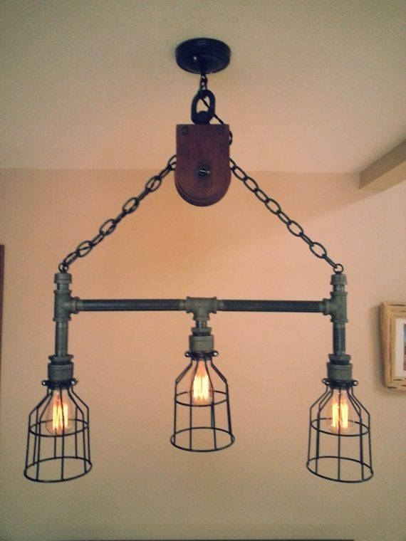 Hanging Industrial Pipe Pulley Light With 3Desertandiron Within Pulley Lights Fixtures (#10 of 15)