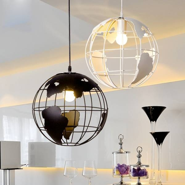 Hanging Light Fixture Nordic A Globe Pendant Lampshade Black Throughout Earth Globe Lights Fixtures (View 4 of 15)