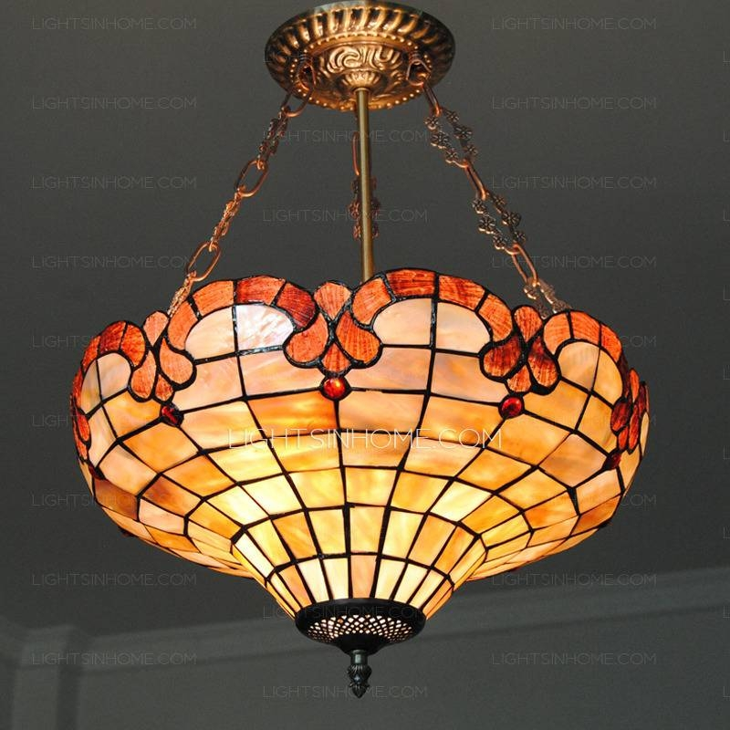 Hanging Shell Shade 16 Inch Diameter Antique Pendant Lights In Shell Lights Shades Pendants (View 11 of 15)