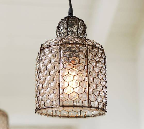 Harlowe Wire & Glass Indoor/outdoor Pendant | Pottery Barn Regarding Chicken Wire Pendant Lights (#7 of 15)