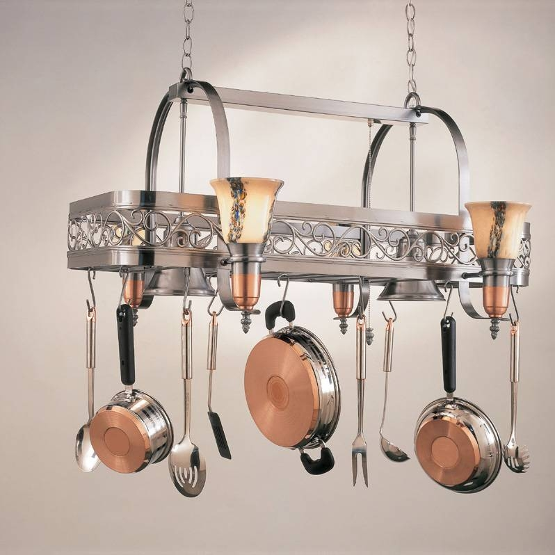 Hi Lite Manufacturing H 10Y D 14 Wht Ody Satin Steel/satin Copper Within Pot Rack With Lights Fixtures (#4 of 15)