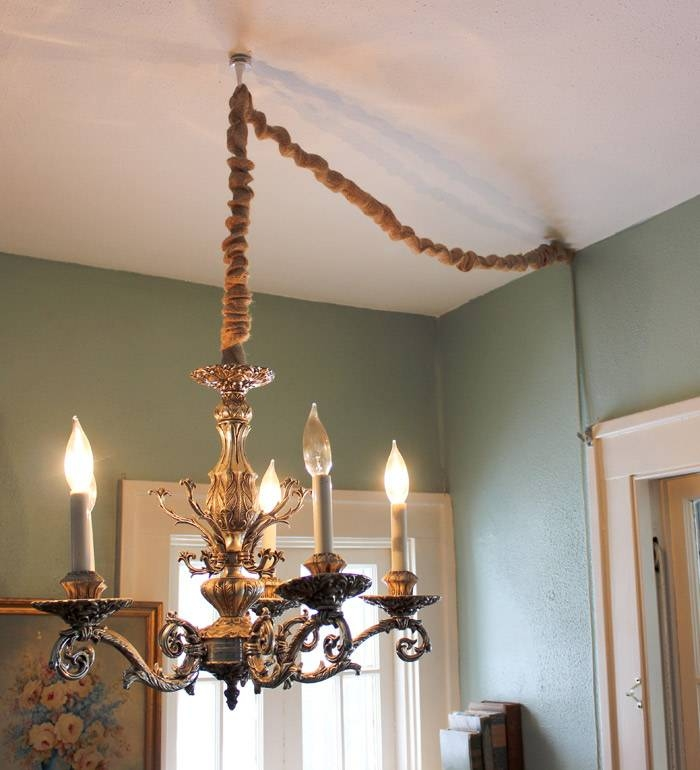 How To Hang A Chandelier In A Room Without Wiring For An Overhead For Cord Cover Pendant Lights (View 11 of 15)