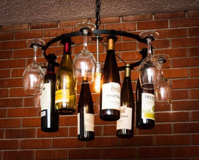 How To Make A Wine Bottle Chandelier – Intended For Wine Glass Lights Fixtures (#9 of 15)