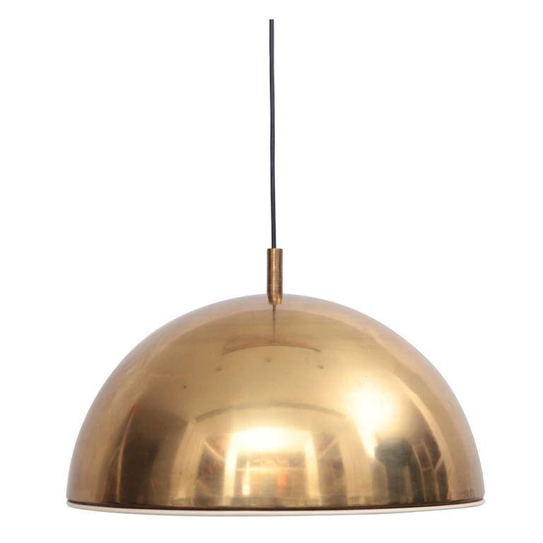 Huge Brass Pendant Lamp From 1960S Italy With White Enamel Inner In 1960S Pendant Lights (#10 of 15)