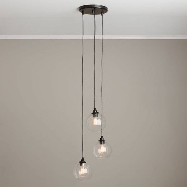 Incredible 3 Pendant Light Uptown 3 Light Clear Globe Cluster With Regard To 3 Pendant Lights Kits (#10 of 15)