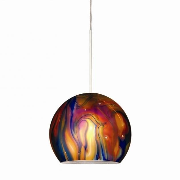 Incredible Large Italian Murano Glass Ball Pendant Lamp From Regarding Murano Glass Lights Pendants (#3 of 15)