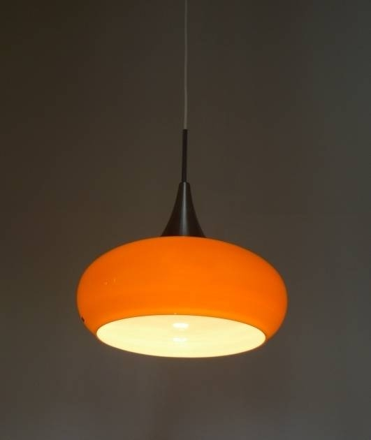 Incredible Orange Glass Pendant Light From Doria Germany 1960S In 1960S Pendant Lights (#11 of 15)