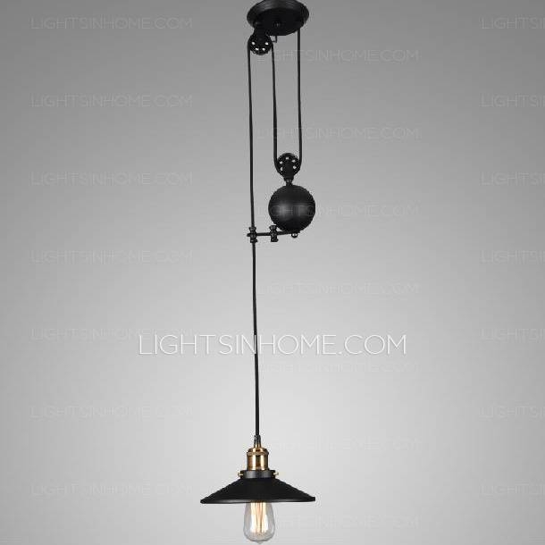 Industrial Black Mini Pendant Lights Pulley Wrought Iron In Wrought Iron Mini Pendant Lights (#5 of 15)