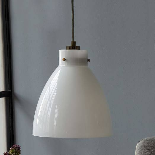 Industrial Glass Pendant – Milk | West Elm Intended For Milk Glass Pendant Lights (View 6 of 15)