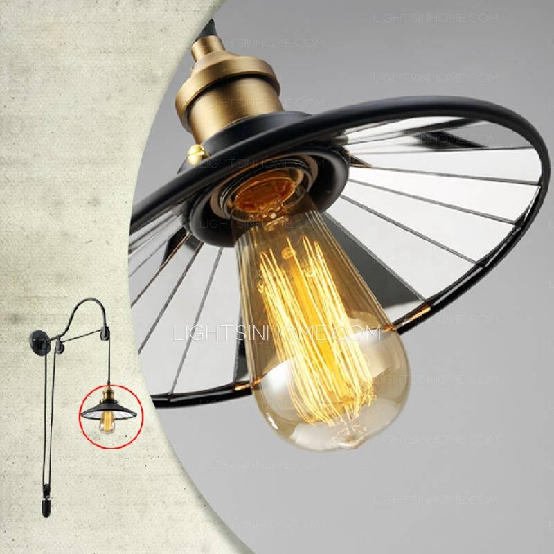 Industrial Lighting Pulley Shaped Adjustable Wall Sconce In Cheap Industrial Lighting (#7 of 15)