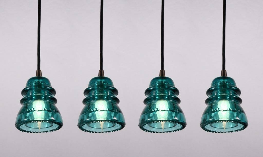 Industrial Pendant Lights Made From Antique Glass Insulators Intended For Insulator Pendant Lights (View 8 of 15)