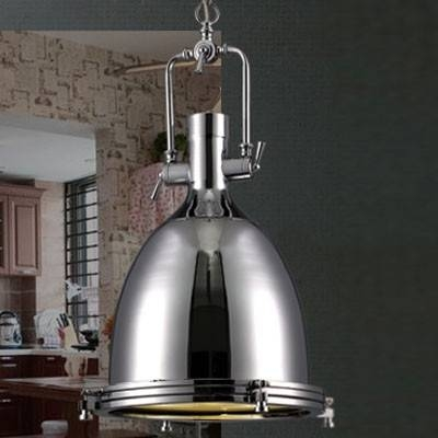 Industrial Style 1 Light Large Pendant In Polished Nickel Throughout Industrial Looking Pendant Light Fixtures (#11 of 15)