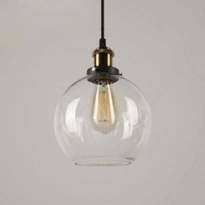 Industrial Style Clear Glass Globe Mini Pendant Lighting Fixture Inside Industrial Style Pendant Light Fixtures (#11 of 15)