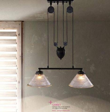 Industrial Style Pulley Lights For A Unique Antique Loft Throughout Pulley Pendant Light Fixtures (#10 of 15)