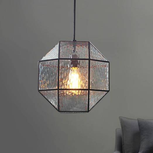 Industrial Textured Glass Pendant – Polygon | West Elm With West Elm Glass Pendants (View 7 of 15)