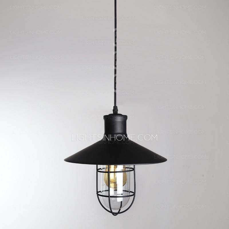 Industrial Type One Light Wrought Iron Pendant Lights In Wrought Iron Lights Pendants (#8 of 15)