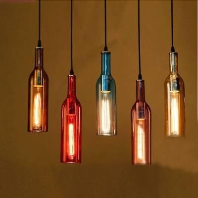 Iudustrial Pendant Light Liquor Bottle Repurposed – Beautifulhalo With Liquor Bottle Pendant Lights (View 2 of 15)