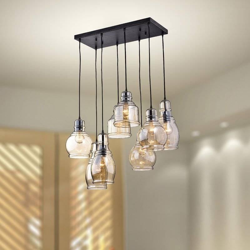 Jojospring Mariana Cognac Glass 8 Light Cascade Pendant & Reviews Pertaining To Glass 8 Lights Pendants (#8 of 15)