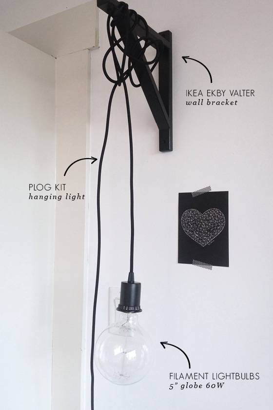 Just Hanging Around… Wall Light Diy | Little Lessy Inside Ikea Pendant Light Kits (View 8 of 15)