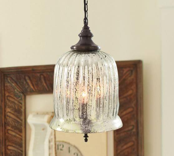 Kaplan Mercury Glass Pendant | Pottery Barn In Mercury Glass Lighting Fixtures (View 13 of 15)