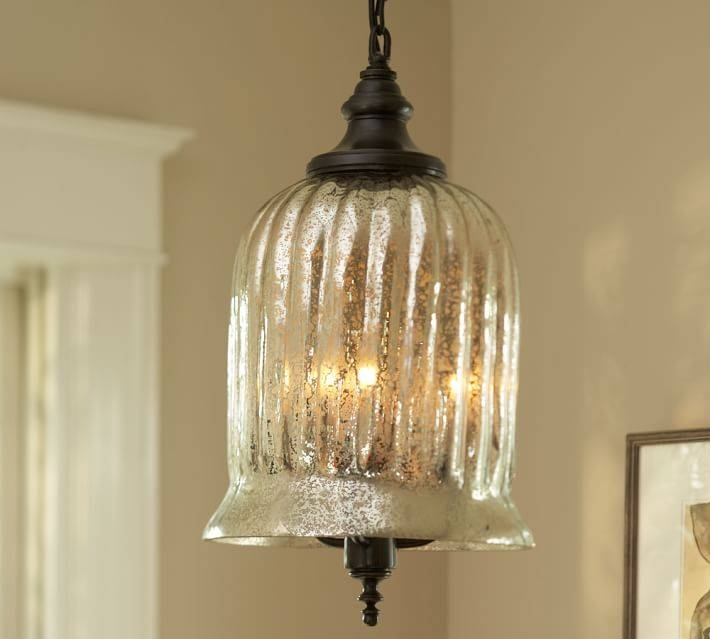 Kaplan Mercury Glass Pendant | Pottery Barn Within Mercury Glass Lighting Fixtures (#5 of 15)