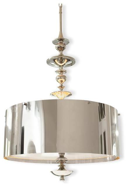 Karel Polished Nickel Hollywood Regency Pendant Lamp, 30 In Polished Nickel Pendant Lights (#6 of 15)
