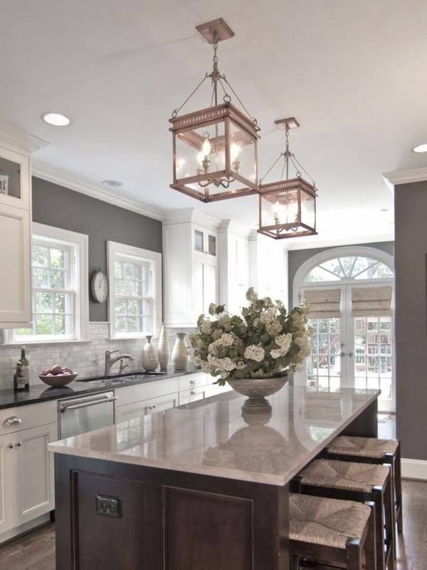 Kitchen Decorating Design Ideas Using Square Clear Glass Candle Intended For Mini Lantern Pendant Lights (#12 of 15)