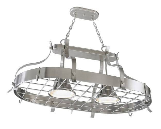 Kitchen Island Pot Rack Lighting – Foter Within Pot Rack With Lights Fixtures (#5 of 15)