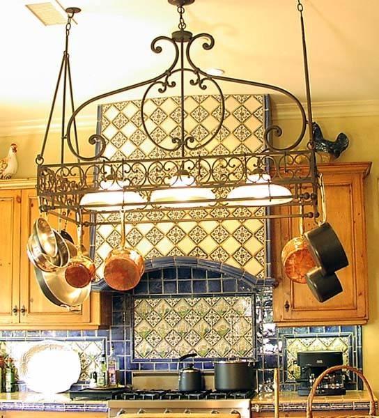 Kitchen Lighting – Mediterranean – Kitchen – Los Angeles – With Pot Rack With Lights Fixtures (#6 of 15)