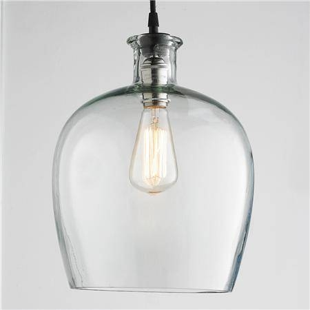 Kitchen Over Island Large Carafe Glass Pendant Light X3 16Hx10 Pertaining To Glass Jug Pendants (View 13 of 15)