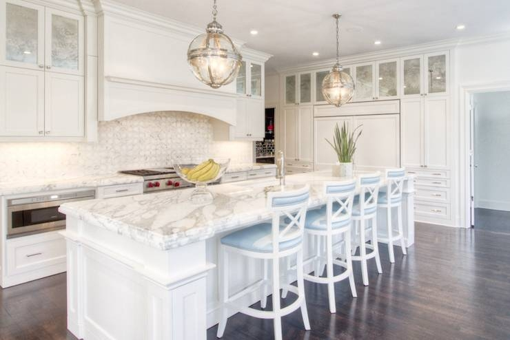 Kitchen With Antiqued Mirrored Cabinets – Transitional – Kitchen In Victorian Hotel Pendants (#7 of 15)