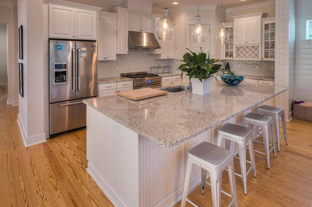 Kitchen With Limestone Tile & Raised Panel In Santa Rosa Beach, Fl For Kichler Pendant Lighting For Kitchen (#8 of 15)