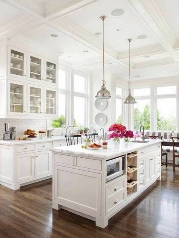 L Shape Kitchen Decorating Using Round Chrome Stainless Steel Dome With Stainless Steel Kitchen Pendant Lights (#9 of 15)