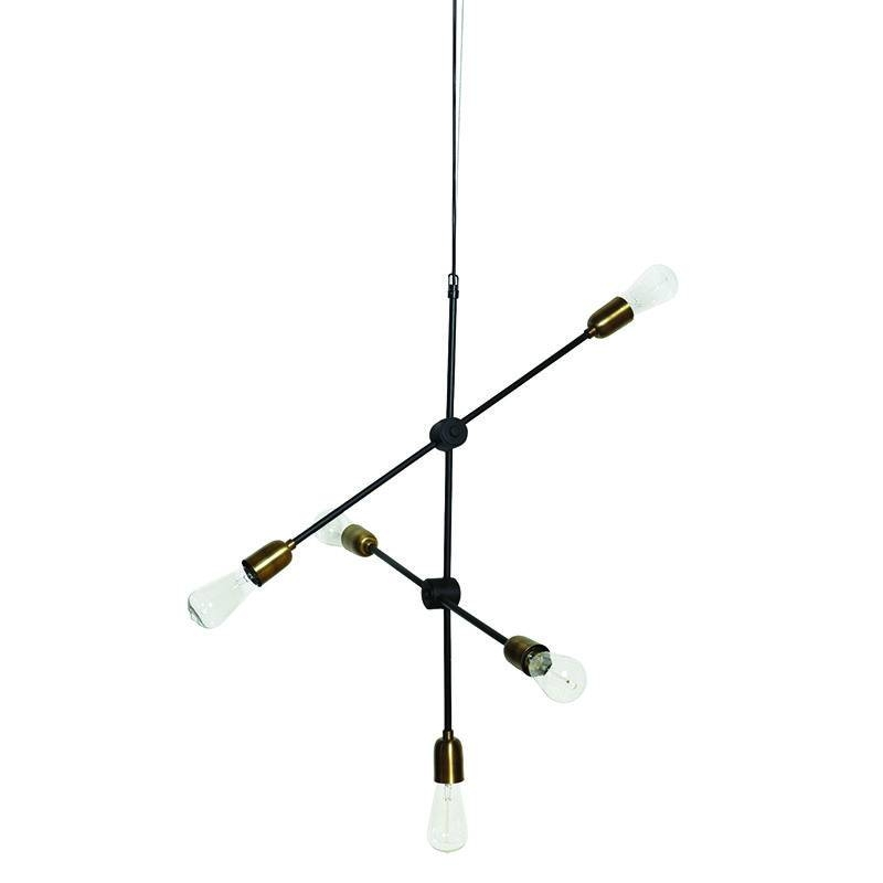 Lab 5 Light Industrial Brass Pendant Regarding Multi Arm Pendant Lights (#8 of 15)