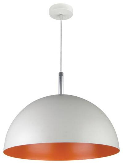 Large Dome Pendant Light, Inside Half Dome Pendant Light, Orange Regarding Large Dome Pendant Lights (#9 of 15)