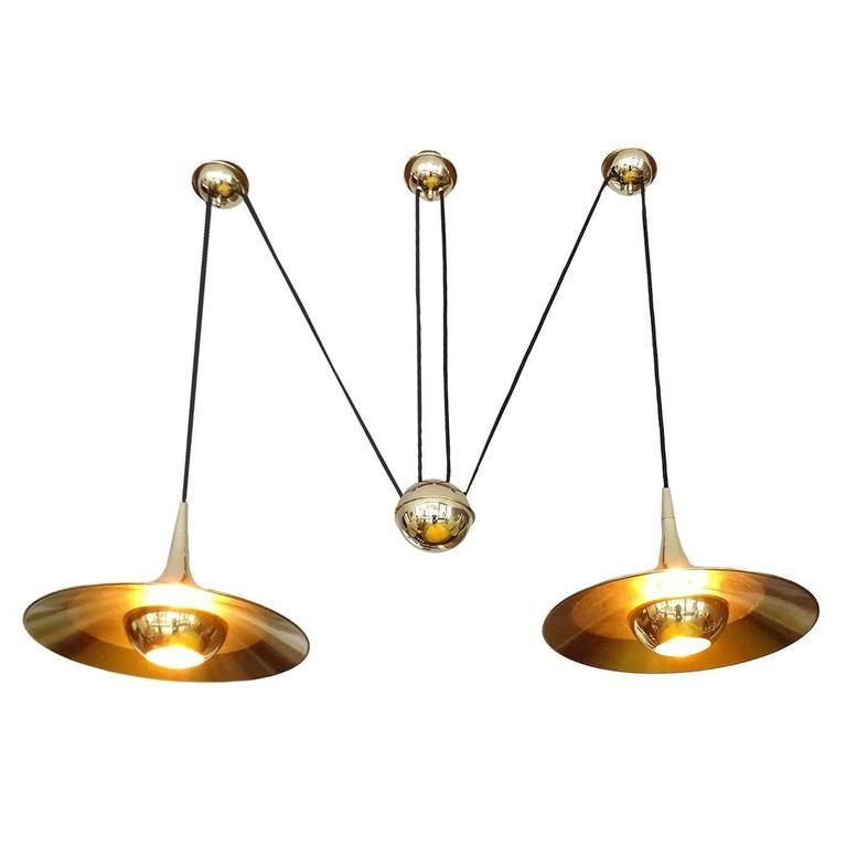 Large Pair Brass Counterweight Pendant Lamp, Modernist Design Inside Counterweight Pendant Lights (#11 of 15)