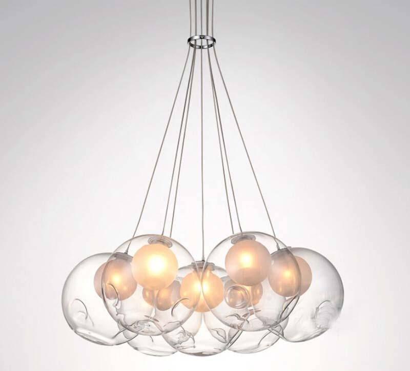 Led Modern Double Cover Glass Ball Pendant Light Soap Bubble Inside Double Pendant Lights (View 8 of 15)
