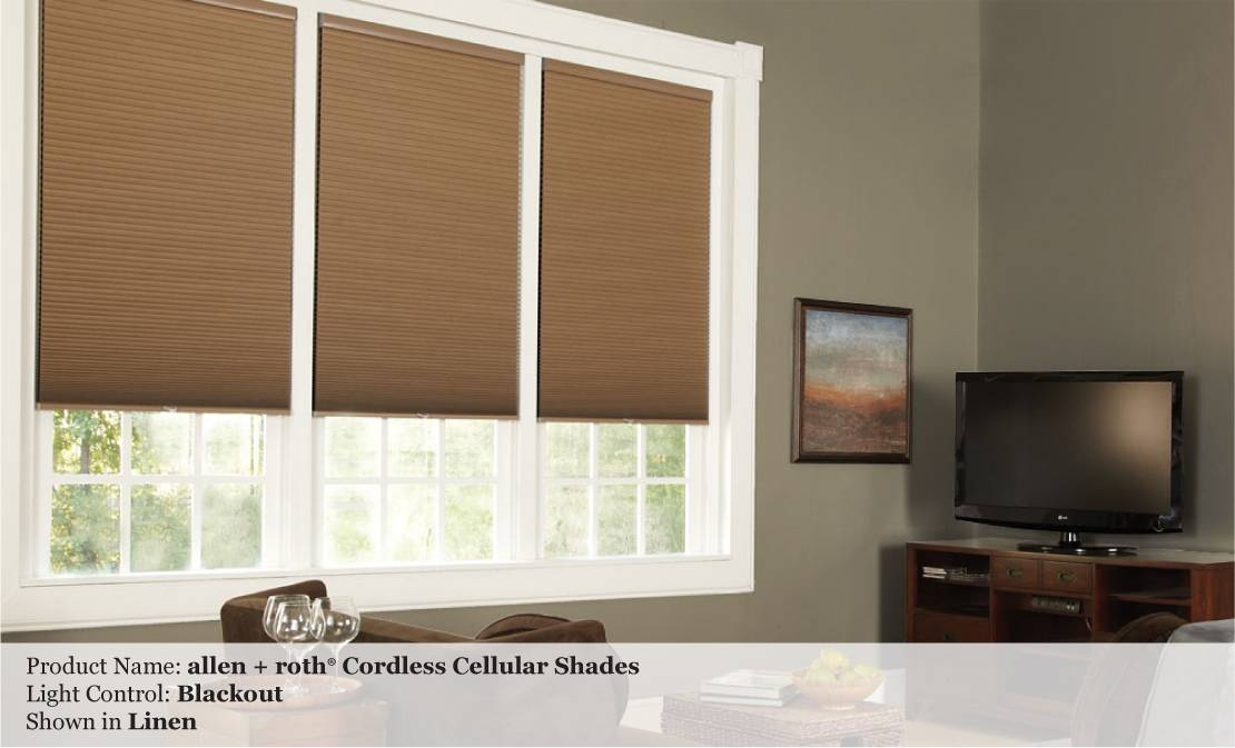 Light Filtering Or Blackout Cordless Cellular Custom Shades With Allen And Roth Shades (View 2 of 15)