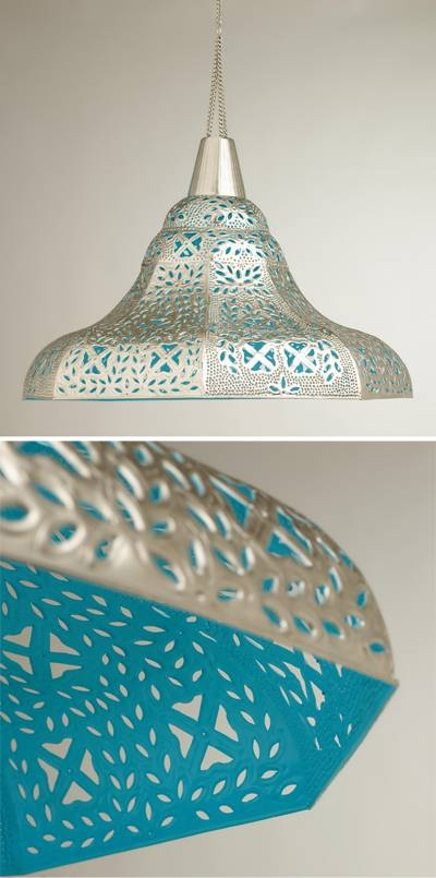 Lighting   Everything Turquoise   Page 11 For Punched Metal Pendant Lights (#5 of 15)