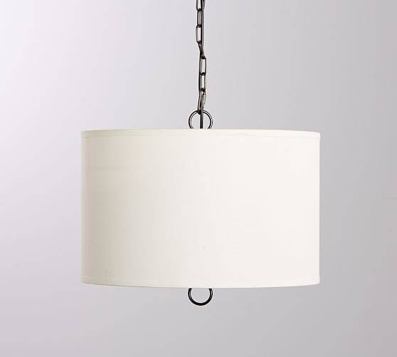 Linen Drum Pendant | Pottery Barn With Regard To White Drum Pendants (View 5 of 15)