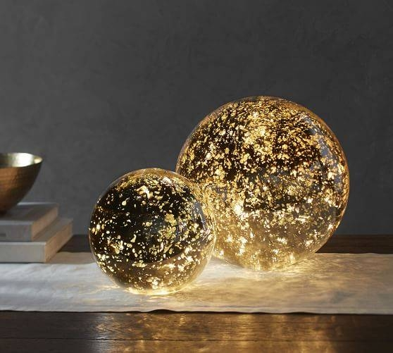 Lit Mercury Glass Globe | Pottery Barn Pertaining To Mercury Glass Lights Fixtures (#8 of 15)