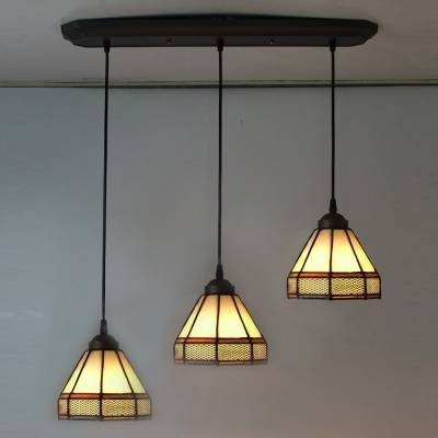 Long Base Geometric Pattern 24 Inch Three Light Hanging Pendant With Regard To Stained Glass Pendant Light Patterns (View 2 of 15)