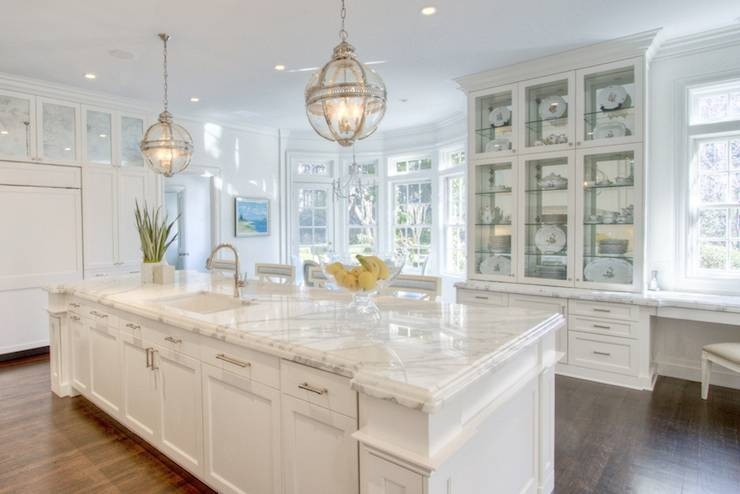 Long Kitchen Island With Two Lanterns – Transitional – Kitchen With Regard To Victorian Hotel Pendants (#8 of 15)