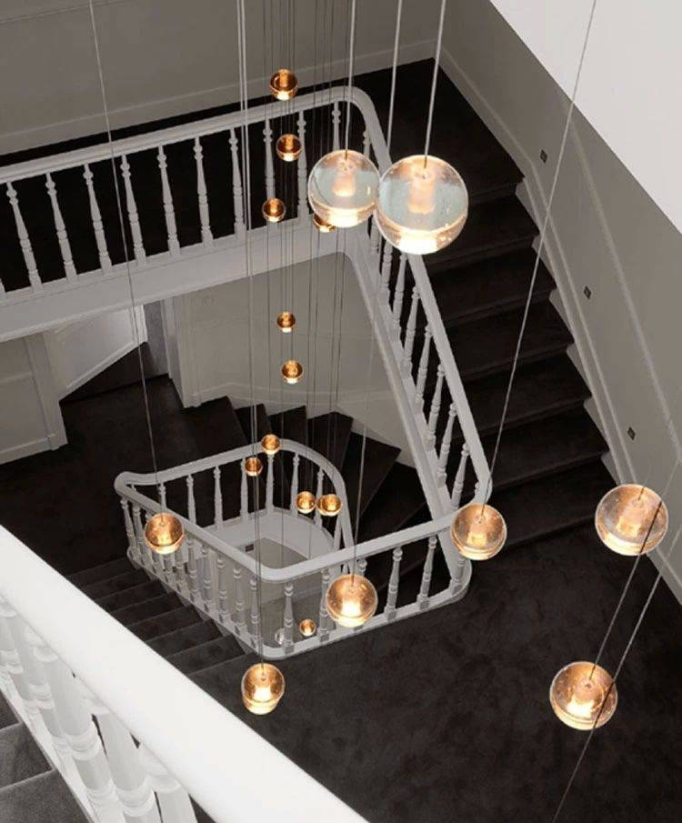 Long Stairway G4 Led Luminaria Home Hanging Crystal Ball Pendant Intended For Pendant Lights For Stairwell (#9 of 15)