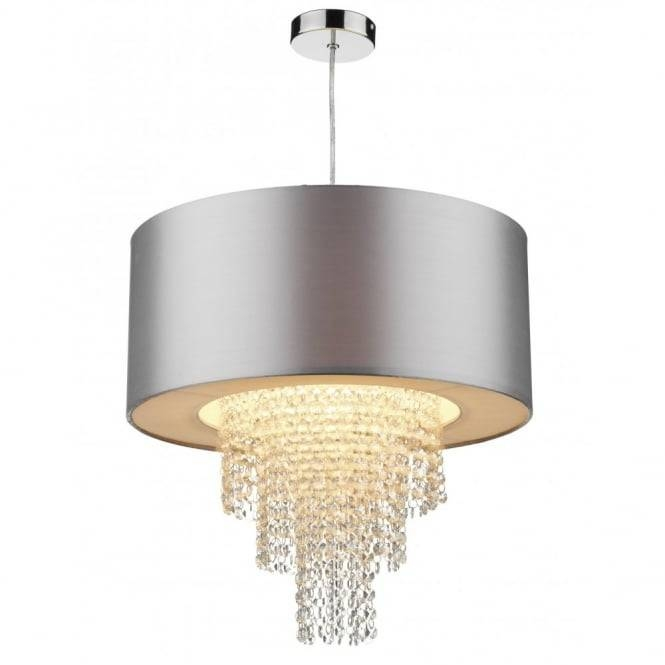 Lopez Easy Fit Non Electric Silver Faux Silk Ceiling Shade Pertaining To Easy Fit Pendant Lights (#11 of 15)