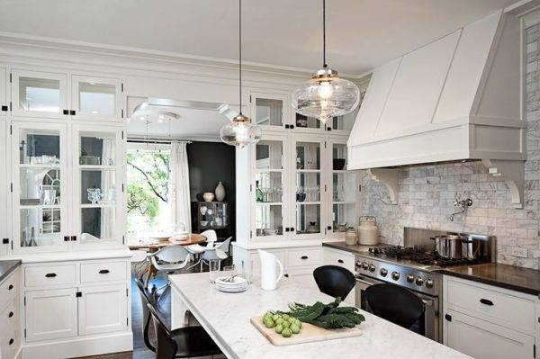 Lovable Round Kitchen Light Fixtures Using Glass Lamp Shades Above In Stainless Steel Kitchen Lights (View 11 of 15)