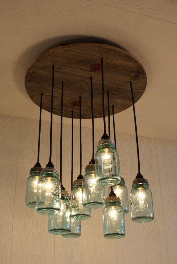 Mason Jar Chandelier Antique Blue Masonbornagainwoodworks Regarding Blue Mason Jar Lights Fixtures (#13 of 15)