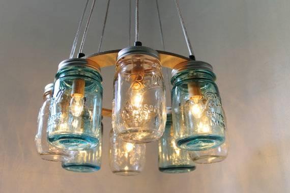 Mason Jar Chandelier Beach House Mason Jar Lighting Fixture With Regard To Beachy Lighting (#14 of 15)