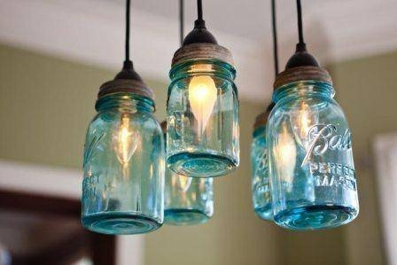 Mason Jar Chandelier Hanging Light Fixture, | Junkyardjems Intended For Blue Mason Jar Lights Fixtures (#14 of 15)