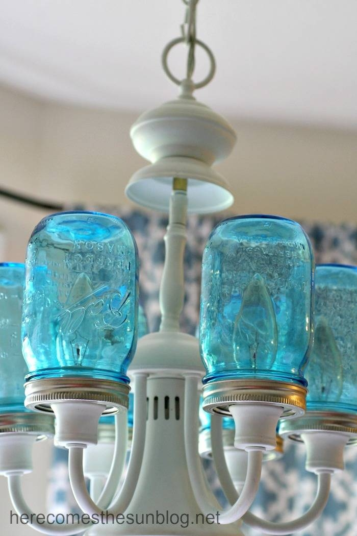 Mason Jar Chandelier | Here Comes The Sun Intended For Blue Mason Jar Lights Fixtures (#15 of 15)